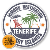 2 x Tenerife WINDOW CLING STICKER Car Van Campervan Glass #6730