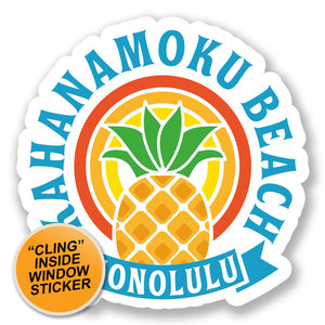 2 x Honolulu Hawaii USA Flag WINDOW CLING STICKER Car Van Campervan Glass #6732