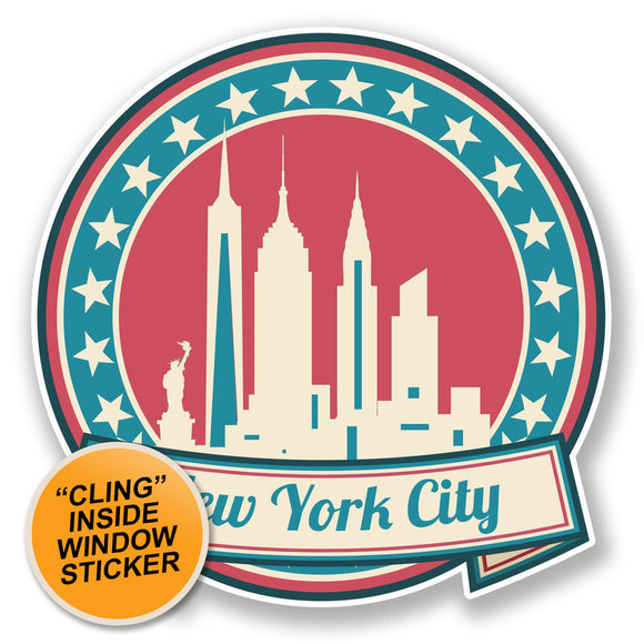 2 x New York America USA WINDOW CLING STICKER Car Van Campervan Glass #6736