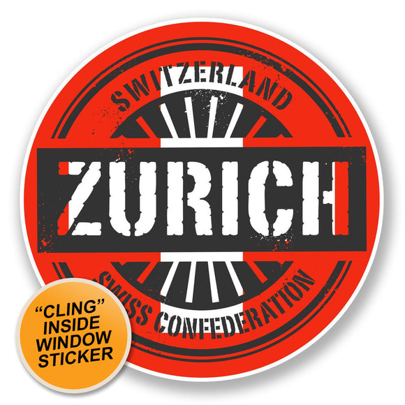 2 x Zurich Switzerland WINDOW CLING STICKER Car Van Campervan Glass #6737