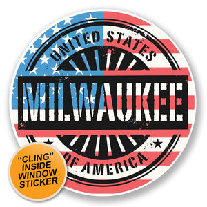 2 x Milwaukee USA WINDOW CLING STICKER Car Van Campervan Glass #6744