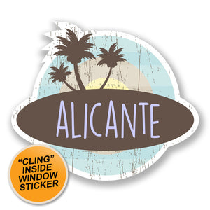 2 x Alicante Spain WINDOW CLING STICKER Car Van Campervan Glass #6762