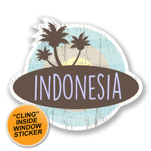 2 x Indonesia WINDOW CLING STICKER Car Van Campervan Glass #6763