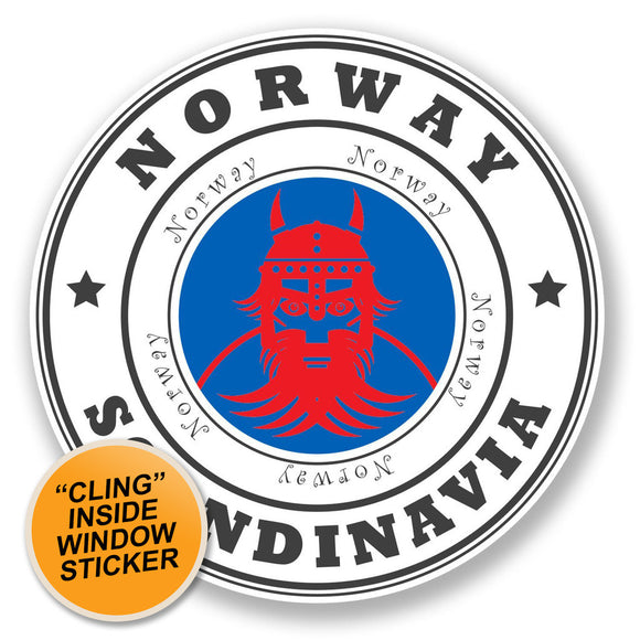 2 x Norway WINDOW CLING STICKER Car Van Campervan Glass #6773