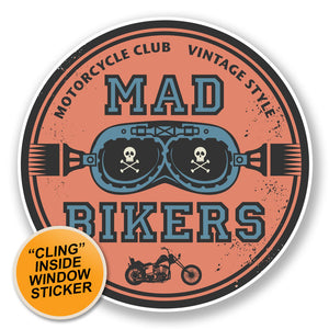 2 x Biker WINDOW CLING STICKER Car Van Campervan Glass #6788
