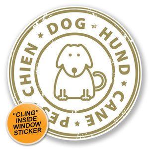 2 x Dog Hund Cane Pes Chien WINDOW CLING STICKER Car Van Campervan Glass #6793