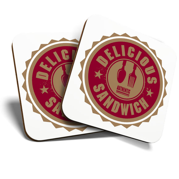 Great Coasters (Set of 2) Square / Glossy Quality Coasters / Tabletop Protection for Any Table Type - Authentic Delicious Sandwich Takeaway   #7003