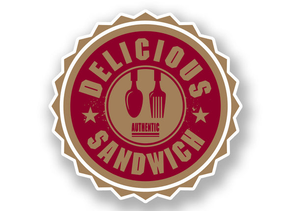 2 x Authentic Delicious Sandwich Vinyl Sticker #7003