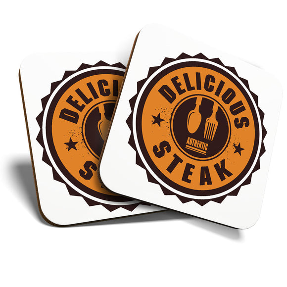 Great Coasters (Set of 2) Square / Glossy Quality Coasters / Tabletop Protection for Any Table Type - Authentic Delicious Steak Takeaway   #7005