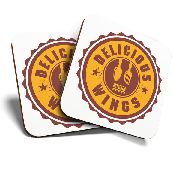 Great Coasters (Set of 2) Square / Glossy Quality Coasters / Tabletop Protection for Any Table Type - Authentic Delicious Wings Takeaway   #7007