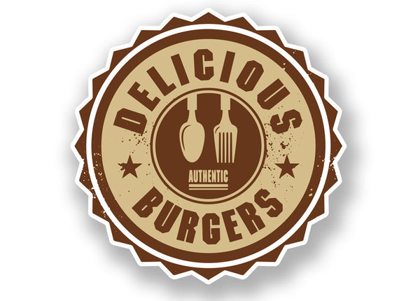 2 x Authentic Delicious Burgers Vinyl Sticker #7010