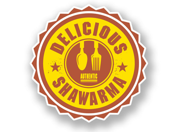 2 x Authentic Delicious Shawarma Vinyl Sticker #7014