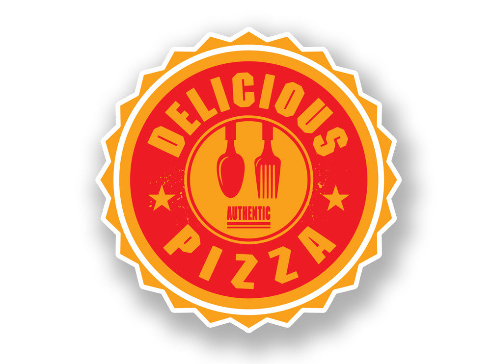 2 x Authentic Delicious Pizza Vinyl Sticker #7015