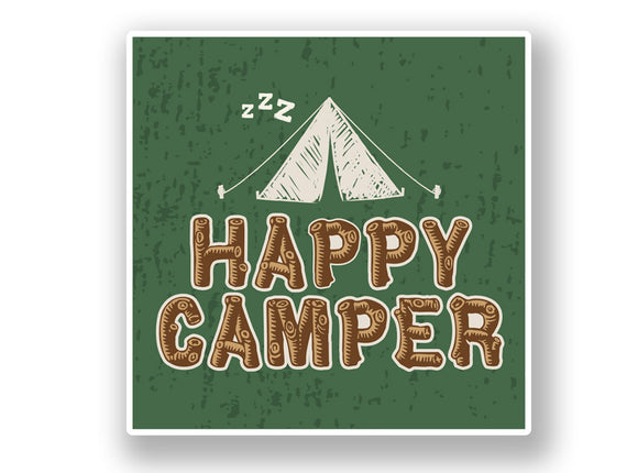 2 x Happy Camper Vinyl Sticker #7023