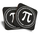 Great Coasters (Set of 2) Square / Glossy Quality Coasters / Tabletop Protection for Any Table Type - Pi Symbol Mathematics Teacher Student  #7056
