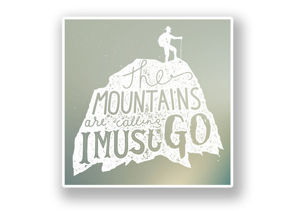 2 x The Mountains Are Calling Vinyl Sticker Hiking Ski Snowboarding #7062