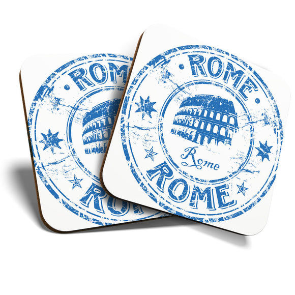 Great Coasters (Set of 2) Square / Glossy Quality Coasters / Tabletop Protection for Any Table Type - Italy Rome Italian Travel Stamp  #7071