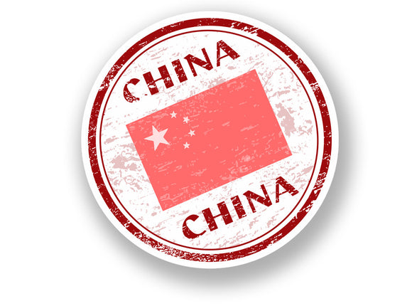 2 x China Vinyl Sticker Travel Luggage Flag #7076