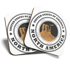 Great Coasters (Set of 2) Square / Glossy Quality Coasters / Tabletop Protection for Any Table Type - United States North America Travel  #7077