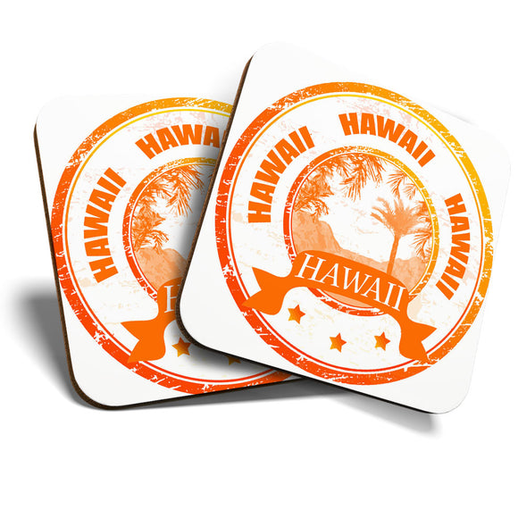 Great Coasters (Set of 2) Square / Glossy Quality Coasters / Tabletop Protection for Any Table Type - Awesome Hawaii USA Honolulu  #7081