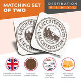 Great Coasters (Set of 2) Square / Glossy Quality Coasters / Tabletop Protection for Any Table Type - Liechtenstein Europe Travel Stamp  #7083