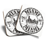 Great Coasters (Set of 2) Square / Glossy Quality Coasters / Tabletop Protection for Any Table Type - Miami Florida USA American Flag   #7087