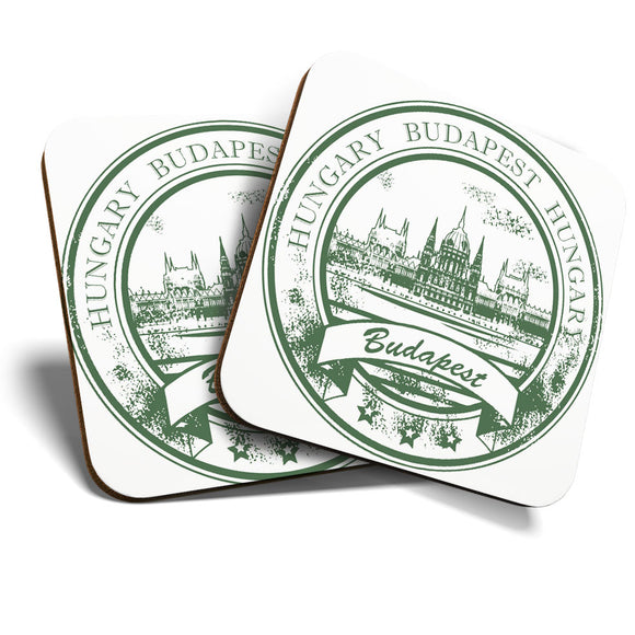Great Coasters (Set of 2) Square / Glossy Quality Coasters / Tabletop Protection for Any Table Type - Budapest Hungary Travel Stamp   #7093