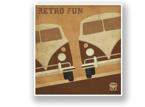 2 x VW Camper Retro Vinyl Sticker #7094