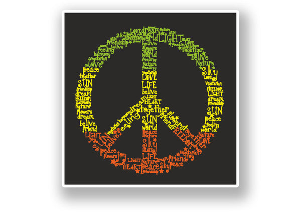 2 x Peace Symbol Vinyl Sticker Hippy #7095
