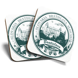 Great Coasters (Set of 2) Square / Glossy Quality Coasters / Tabletop Protection for Any Table Type - Bratislava Slovakia Travel Stamp  #7097