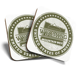 Great Coasters (Set of 2) Square / Glossy Quality Coasters / Tabletop Protection for Any Table Type - Wyoming Mountain West USA Travel  #7098