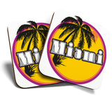 Great Coasters (Set of 2) Square / Glossy Quality Coasters / Tabletop Protection for Any Table Type - Miami Beach Florida United States USA  #7101