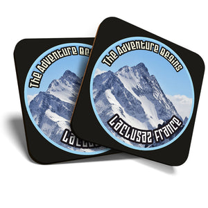 Great Coasters (Set of 2) Square / Glossy Quality Coasters / Tabletop Protection for Any Table Type - La Clusaz France Ski Snowboard Resort  #7113