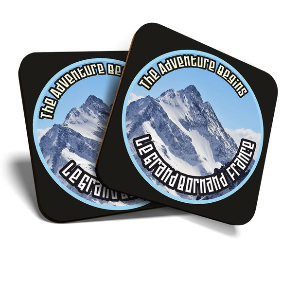 Great Coasters (Set of 2) Square / Glossy Quality Coasters / Tabletop Protection for Any Table Type - Le Grand Bornand France Ski Snowboard  #7117