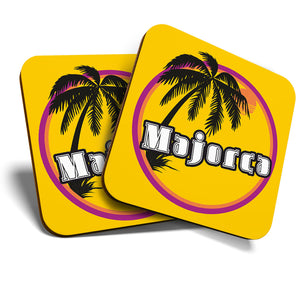 Great Coasters (Set of 2) Square / Glossy Quality Coasters / Tabletop Protection for Any Table Type - Majorca Sunset Travel Holiday Stamp  #7121