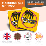 Great Coasters (Set of 2) Square / Glossy Quality Coasters / Tabletop Protection for Any Table Type - Gran Canaria Sunset Travel Stamp  #7126