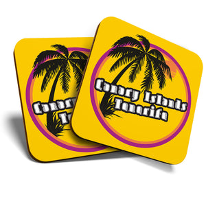 Great Coasters (Set of 2) Square / Glossy Quality Coasters / Tabletop Protection for Any Table Type - Tenerife Sunset Travel Holiday Stamp  #7128