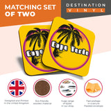 Great Coasters (Set of 2) Square / Glossy Quality Coasters / Tabletop Protection for Any Table Type - Cool Cape Verde Sunset Travel Stamp  #7129