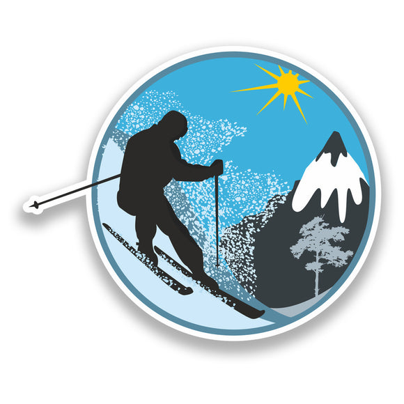 2 x Skiing Vinyl Sticker Extreme Thrill Seeker Travel Mountains #7133