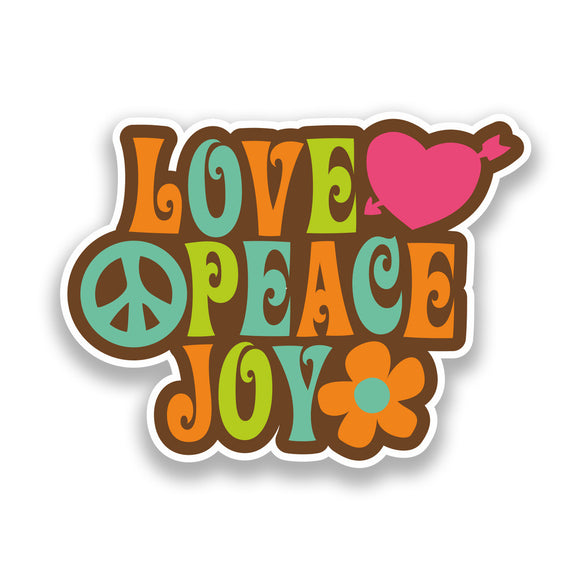 2 x Love Peace Joy Vinyl Sticker Hippy Flower power Travel #7140