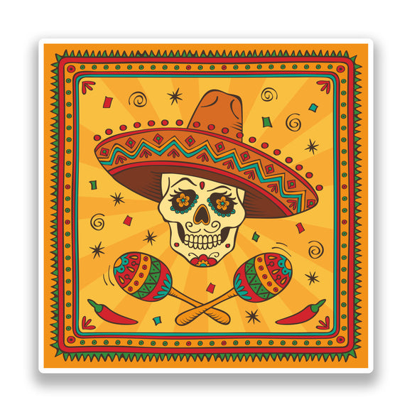 2 x Sugar Skull with Sombrero Vinyl Stickers Mexico Festival Day of the Dead #7166