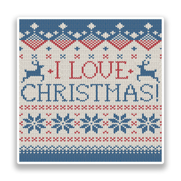 2 x I Love Christmas Vinyl Stickers Fairisle Knitted #7168