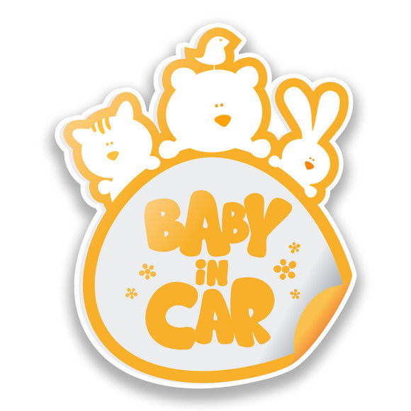 2 x Baby In Car Vinyl Stickers Orange Safety Warning Bumper #7169