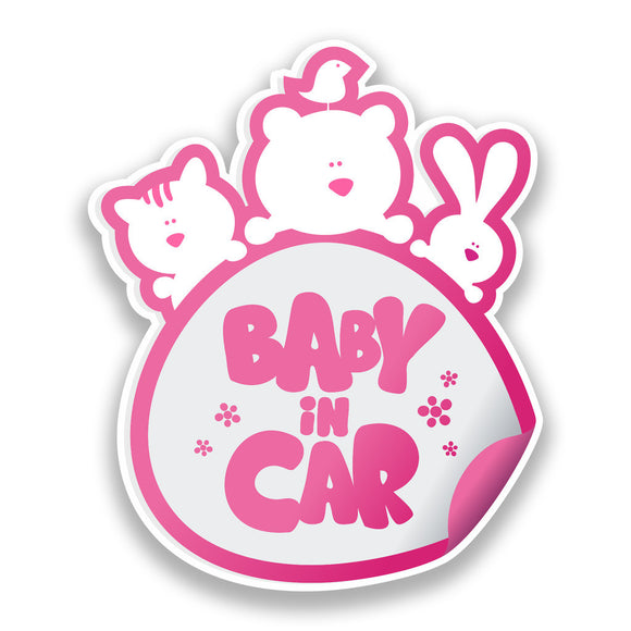 2 x Baby In Car Vinyl Stickers Pink Safety Warning Bumper #7170