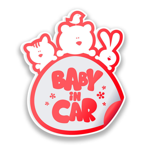 2 x Baby In Car Vinyl Stickers Red Safety Warning Bumper #7171