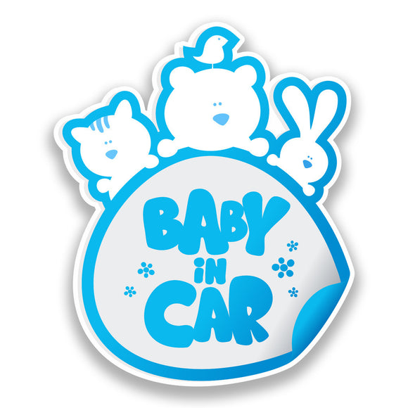 2 x Baby In Car Vinyl Stickers Blue Safety Warning Bumper #7172