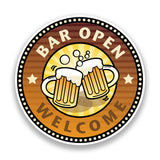 2 x Welcome Bar Open Vinyl Stickers Pub Beer #7176