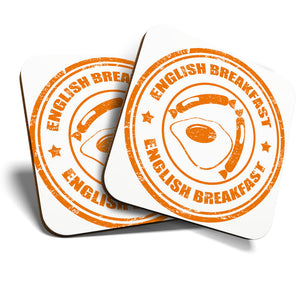 Great Coasters (Set of 2) Square / Glossy Quality Coasters / Tabletop Protection for Any Table Type - English Breakfast Cafe Restaurant  #7182
