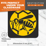 Great Coasters (Set of 2) Square / Glossy Quality Coasters / Tabletop Protection for Any Table Type - Wasp Bug Insect Honey Bee  #7183