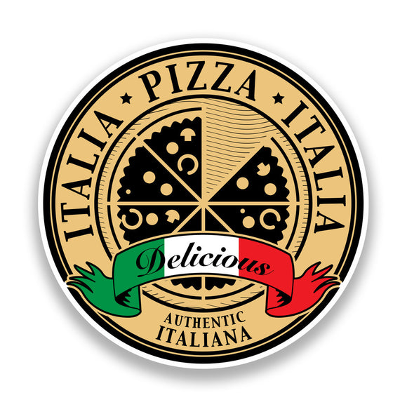 2 x Authentic Italian Pizza Vinyl Stickers #7193